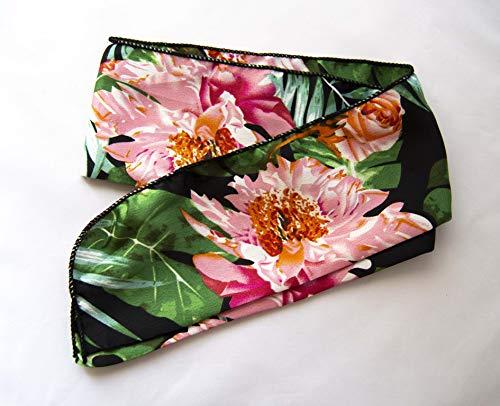 Pañuelo para coleta 88x8cm estampado tropical color negro. Envío GRATIS 72H
