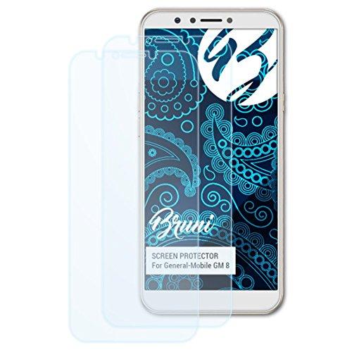 Bruni Schutzfolie kompatibel mit General-Mobile GM 8 Folie, glasklare Bildschirmschutzfolie (2X)