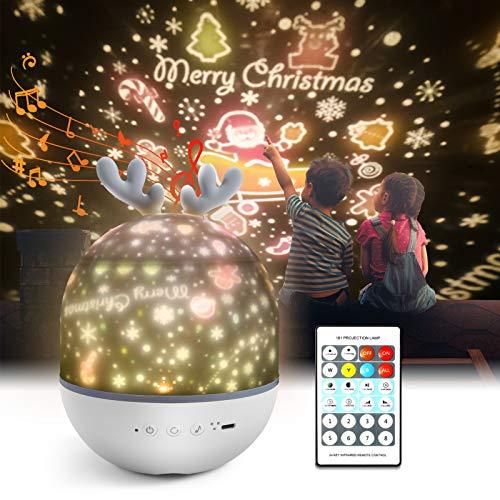Sternenhimmel Projektor Lampe Kinder,Petrichor LED Musik Nachtlicht Lampe Schlummerleuchten Schlafhilfe Kind 360° Rotation mit 8 Beruhigende Musik,6 Projektionsfilmen für Kinder Zimmer Dekoration