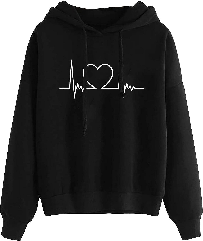 BOXIACEY Women's Autumn Winter Hoodies Electrocardiogram Print Drawstring Sweatshirt Pullover Long Sleeve T-Shirts