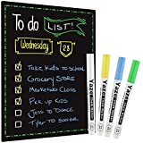 Magnetic Dry Erase Black Board for Refrigerator with Chalkboard Design - 17X12' - Dry Erase Weekly Meal Planner and Grocery List Notepad for Refrigerator - Perfect Chalkboard Magnet Pad