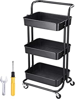 Yescom 3 Tiers Rolling Utility Cart Metal Storage Cart Mobile Organizer Black