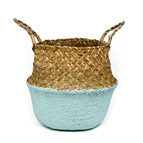 lavander/ía maceta tejida de plantas plegables Canasta de vientre hecha a mano con manija para almacenamiento picnic cubierta de maceta y bolsa de playa cesta Canasta de pastos marinos naturales