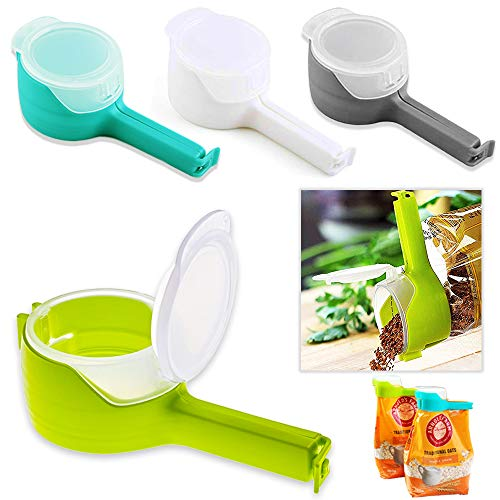FCOZM Bag Clips for Food Food Storage Sealing Clips with Pour Spouts Kitchen Chip Bag Clips Plastic Cap Sealer Clips Great for Kitchen Food Storage and Organization