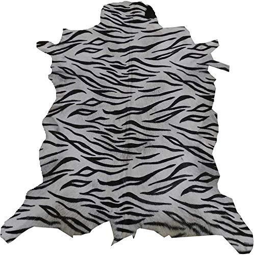 Zerimar Alfombra Piel de Cabra Natural Premium | Medidas: 95x85 cms | Estampada imitación Tigre | Alfombra Salón | Alfombra Salón Grandes | Alfombras de Pelo