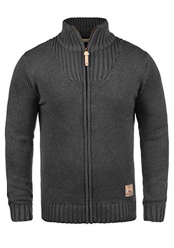 !Solid Poul Herren Strickjacke Cardigan Grobstrick Winter Pullover mit Stehkragen, Größe:XL, Farbe:Dark Grey Melange (8288)