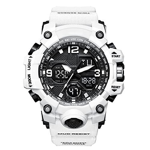 Digital Uhren Herren Damen, Digital Uhr,5ATM Wasserdicht Armbanduhr,Digitaluhr Unisex,Resin Armband (Color : White)