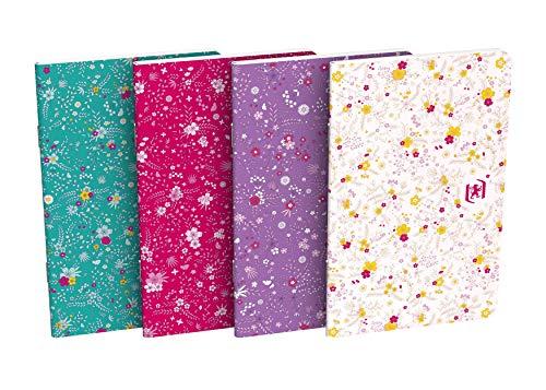 Oxford – Lote de 10 cuadernos de flores 9 x 14 cm, 60 páginas, rayadas, 6 mm, con tapa de tarjeta, colores surtidos