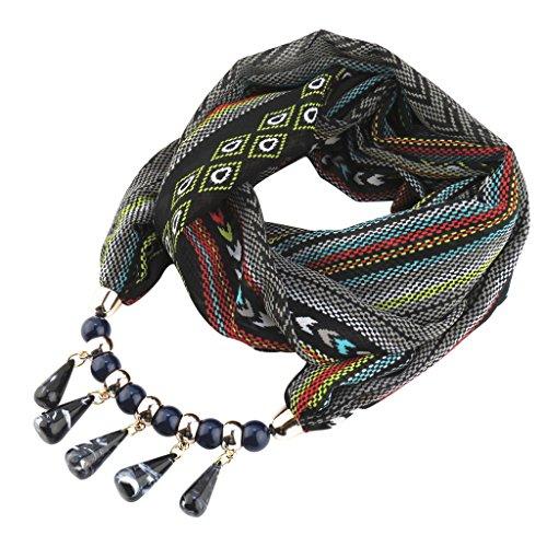 Xuniu Sciarpa delle Donne, Collana di Sciarpa Chiffona Ciondolo Etnico Bohemian per Le Donne Nero