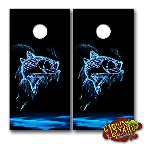 CL0058 Flaming Fish CORNHOLE LAMINATED DECAL WRAP SET Decals Board Boards Vinyl Sticker Stickers Bean Bag Game Wraps Vinyl Graphic Tint Fishing Deep Sea Bass Trout Hunting