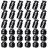 AQRINGO 36 Pcs Plastic Cord Locks, Upgraded Single Double Hole Spring Loaded Stop Toggle Cord Stopper Fastener Toggles for Drawstrings, Paracord, Shoelace Replacement, Bags, Clothing, and More, Black