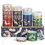 Washi Tapes, Vordas 20 Rollos de Cinta Adhesiva Decorativa, Lámina Dorada Masking Tape Set para Bullet Journal Scrapbooking DIY