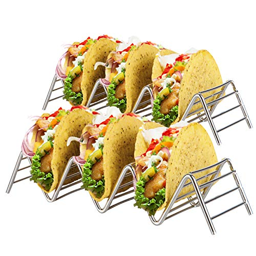 KITCHENATICS Stainless Steel Taco Holder Stand: 2 Wire Metal Tray Holders For Serving Up Soft & Hard Shell Food Truck...