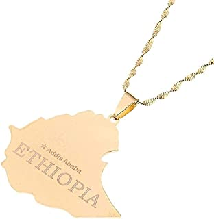 Collana Mappa Della Repubblica Federale Democratica D'Etiopia Collana Pendente Etiopia Addis Abeba Collana Mappe Collana