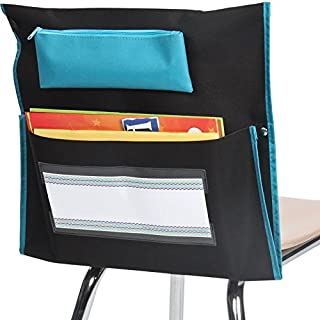 Really Good Stuff Store More Deluxe Chair Pockets – Set of 6 – Pocket Chair Organizer with Pencil Pouch and Name Tag Keeps Students Organized and Classrooms Neat - Black
