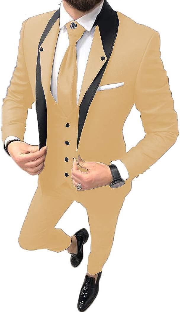 ToonySume Fashion Men's Business Suits Slim Fit 3 Pieces Prom Tuxedos Notch Lapel Groomsmen Wedding(Custom,Champagne)