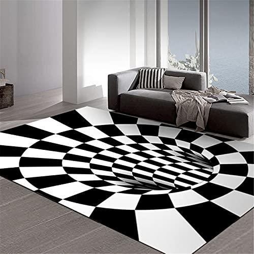 hwqjr Alfombra de salón con impresión de efecto visual para dormitorio, estudio, comedor, hotel, mesita de noche debajo de la silla, 01,60 x 90 cm
