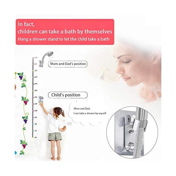 Soporte de ducha, no es necesario perforar agujeros para instalar pegamento fuerte con agujeros de montaje de tornillo…