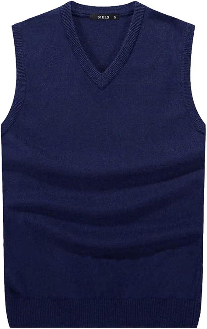 EGFIOKMJHT Men Sleeveless Sweater Vest Male Autumn Spring Cotton Knitted Solid Vest Man Business V Neck Top