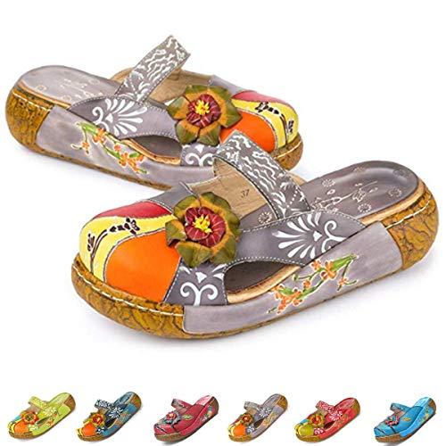 gracosy Leather Sandals for Women, Womens Wedge Sandals Clogs Mules Slip on Summer Shoes Flat Slide Sandals Handmade Flower Platform Wedges Comfort Loafer Shoes Red Blue Grey Grey 7 B(M) US