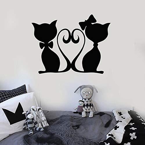JHGJHGF Kätzchen Katze Paar Wandaufkleber Liebe Tier Tierhandlung Kunst Wandbild...
