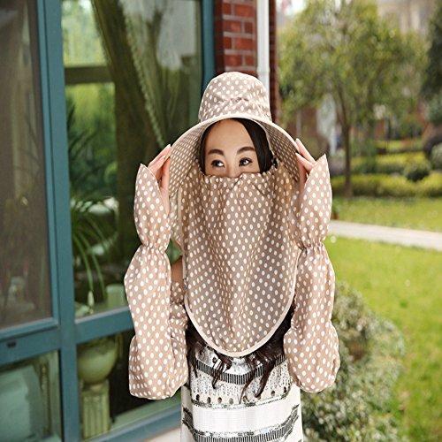 Inovey New da donna visiera Wave a protezione solare antivento estate tessuto punto dell' onda cappello da sole con maniche–beige