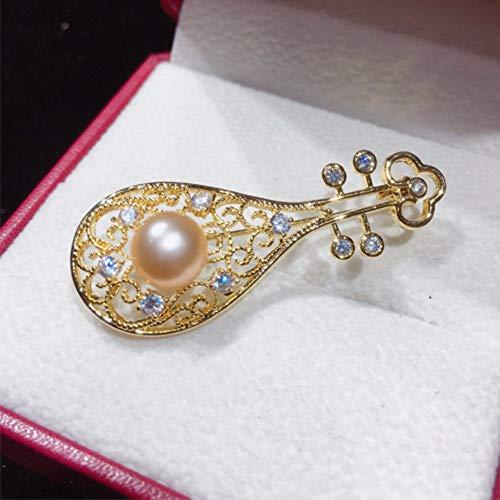 THTHT Natürliche Süßwasser Perle Brosche Im Chinesischen Stil Instrumente Pipa Brosche Pins Pearl Schmuck Frauen