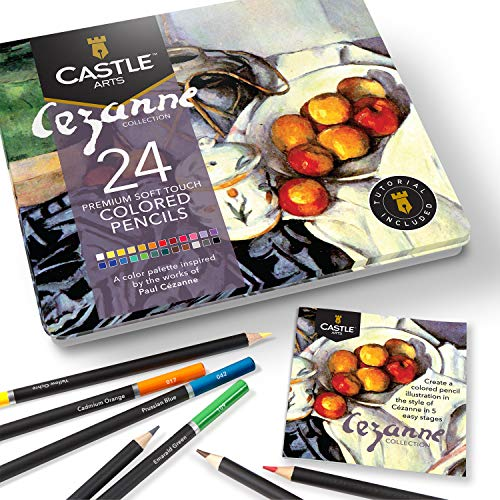 Castle Arts Themed 24 Colored Pencil Set in Tin Box, perfect 'Cezanne' inspired colors. Featuring, smooth colored cores, superior blending & layering performance for great results