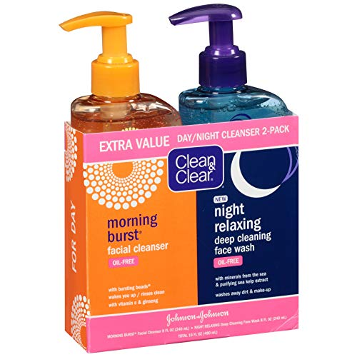 Clean & Clear Morning Burst Facial Cleanser & Night Relaxing Deep Cleaning Face Wash, 8 fl oz, 2...