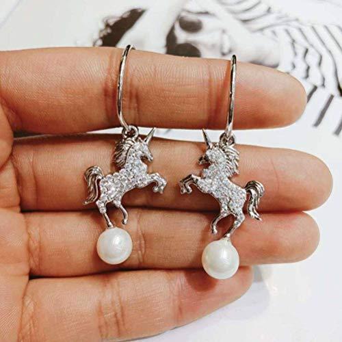LOt Pendiente en Forma de Gota Pendientes de Diamantes Completos Infantiles Lindos Pendientes de Perlas de Temperamento Pendientes de Estrella de la Personalidad de la Luna PegasoD