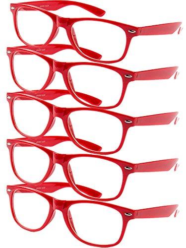 Ciffre 5 er Set EL-Sunprotect® Klar Glas Nerdbrille Brille Nerd Sonnenbrille Hornbrille Streber