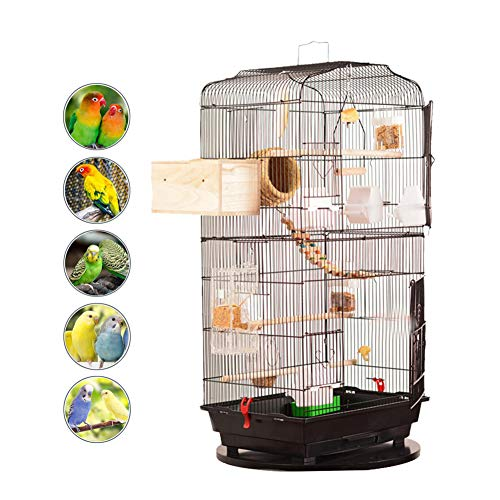DJLOOKK Jaulas De Pájaros Vuelo Metálico Jaula De Pájaros Loro Cockatiel Casa Pinzón Pajarera Mascota