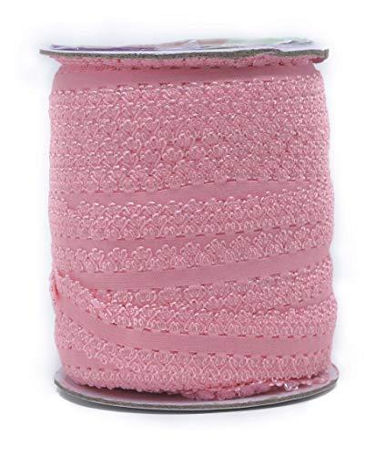 Mandala Crafts Elastic Lace Ribbon Decorative Stretch Trim for Elastic Headband, Lingerie, Sewing 1 Inch 55 Yards Roll Pink