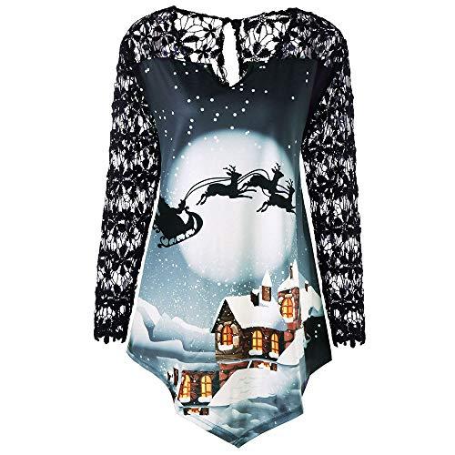 OverDose Damen Frauen Weihnachten Stitching Long Lace Sleeve Printed O-Ausschnitt Weihnachtsmann Cosplay Slim Party Clubbing T-Shirt Tops Bluse Tuniken(Blau,EU-44/CN-2XL )