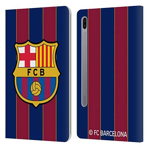 Head Case Designs Licenciado Oficialmente FC Barcelona Casa 2020/21 Kit de Cresta Carcasa de Cuero Tipo Libro Compatible con Samsung Galaxy Tab S6 (2019)