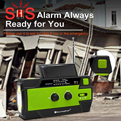 Product Image 3: 【2020 Newest】RunningSnail Emergency Crank Radio,4000mAh-Solar Hand Crank Portable AM/FM/NOAA Weather Radio with 1W Flashlight&Motion Sensor Reading Lamp,Cell Phone Charger, SOS for Home and Emergency