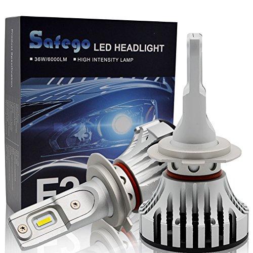 H7 LED Faro Bombillas Kit - Safego 72W LED 2LED Chips 6000LM LED Coche Kit de Conversión 12V Reemplazo Para Lámparas Halógenas o Bombillas HID F2-YD-H7