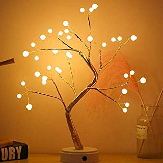 U-HOOME Tree Lights Night Light with Touch Button, 36 LED Pearl Beads Fairy Light Children's Room Décor Battery & USB Powe...