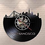 ZZLLL San Francisco Skyline Wall Art Reloj de Pared de Vinilo Reloj de Vinilo Vintage Reloj de Viaje Hito EE. UU. SF Vista de la Ciudad Reloj de Pared del Puente Golden Gate