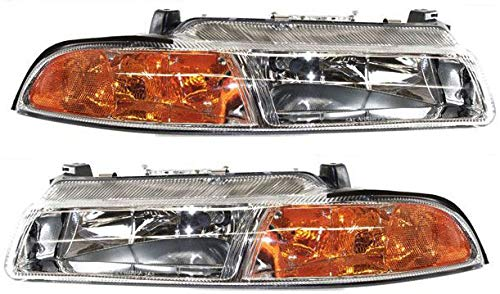 Headlight Assembly Compatible with 1995-2000 Dodge Stratus Halogen with Improved Pattern Beam Passenger and Driver Side