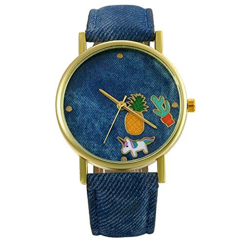 LANCARDO Herren Damen Armbanduhr Analog mit Denim-Stoff Leder Armband