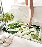 ZGXL Leaves Bath Mat Bathroom Rug Non Slip Soft Microfiber Absorbent Machine Washable Entryway Door Mat Indoor Doormat for Bathroom Tub 17.5 X 25.5IN, Green