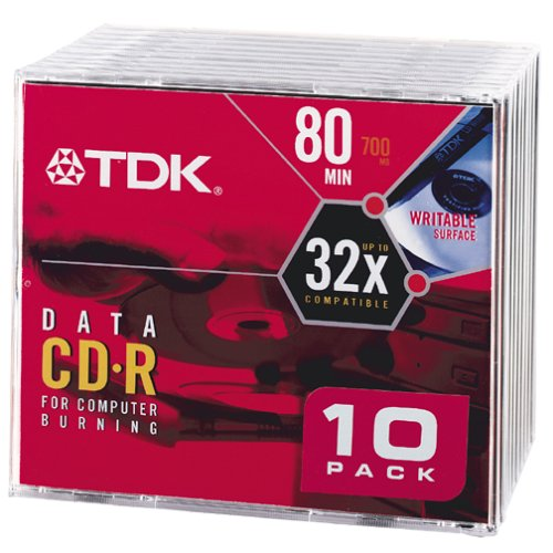 TDK CD-R80M10 CD-R Data 80 Minute, 700MB, 32x (10-Pack with Slim Jewel Case) (Discontinued by Manufacturer)