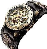 ZFAYFMA Reloj de Relojes mecánicos de Auto-Viento analógico de los Hombres, Reloj de Movimiento de Acero Inoxidable Steampunk de Acero Inoxidable Moda Regalo de Ocio Black