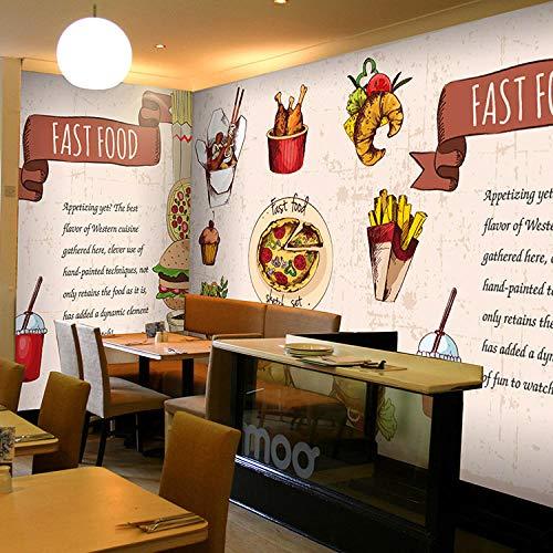 3D Tapete Fototapete EuropeanWood Delicious Snacks Großes Wandbild Restaurant Kuchen Dessert Shop Hintergrund PizzaFries Tapete Wandbild,250x175cm