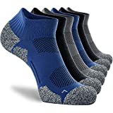 CWVLC Men's No Show Running Socks 6-pairs Ankle Low Cut Compression Athletic Hiking Gym Arch Support Anti-Blister Moisture Wicking, Black Grey Blue, L (10-13 Women/9-11.5 Men)