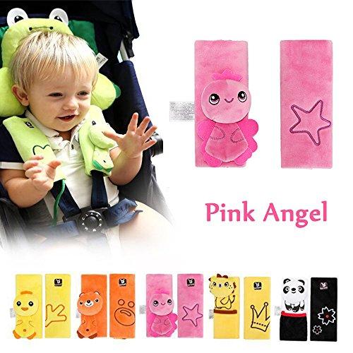 Guaina per cintura di sicurezza Cuscino per spalla morbido per bambini Inchant Cartoon Safety Safety Car Seat Belt (Angelo rosa)
