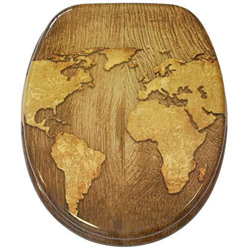 Sedile WC con chiusura ammortizzata, grande scelta di belli sedili WC da legno robusto e di alta qualità (Mappamondo)