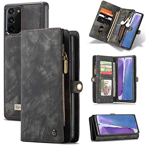 of pouch wallets dec 2021 theres one clear winner Galaxy Note 20 Wallet Case,Zttopo 2 in 1 Premium Leather Zipper Detachable Magnetic 11 Card Slots Money Pocket Clutch for Samsung Note 20 Folding Flip Case Wallet (6.7'')