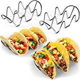 Premium Taco Holders - 4 Pack Stainless Steel Taco Stands - Holds 12 Tacos - Fits Most Plates - Dishwasher & Oven Safe - Stackable Trays - Racks Hold Soft & Hard Shell Tacos